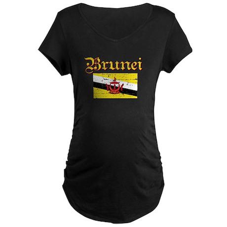 Flag of Brunei Maternity Dark T-Shirt