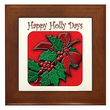 happy holly days Framed Tile