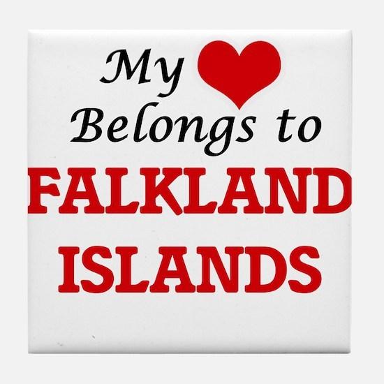 My Heart Belongs to Falkland Islands Tile Coaster