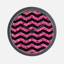 CHEVRON3 BLACK MARBLE & PINK MARBLE Wall Clock