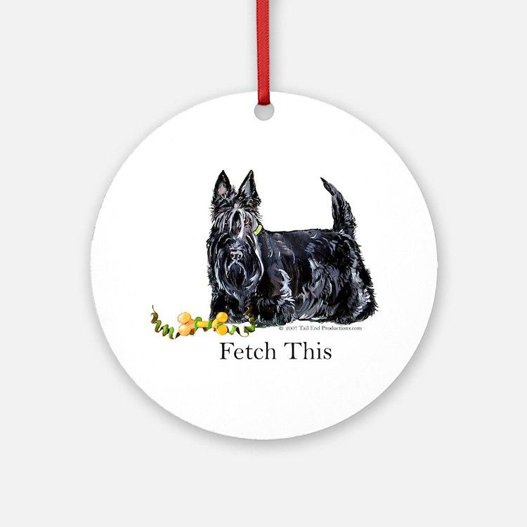 Scottish Terrier Holiday Dog Ornament (Round)