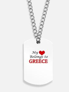 My Heart Belongs to Greece Dog Tags