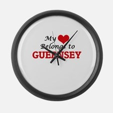 My Heart Belongs to Guernsey Large Wall Clock