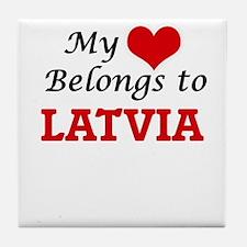 My Heart Belongs to Latvia Tile Coaster