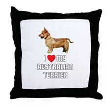 I Love My Australian Terrier Throw Pillow