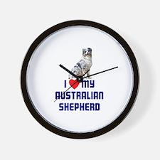 I Love My Australian Shepherd Wall Clock