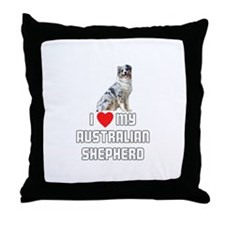 I Love My Australian Shepherd Throw Pillow