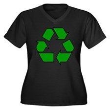 Recycling Symbol Women's Plus Size V-Neck Dark T-S