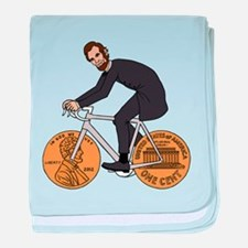 Abraham Lincoln On A Bike With Penny baby blanket