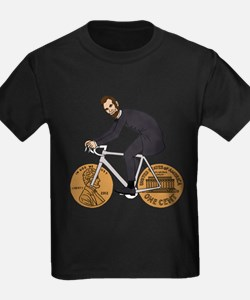 Abraham Lincoln On A Bike With Penny Wheel T-Shirt