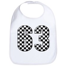 Checkered Number 63 Bib