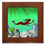 Green Mermaid Framed Tile