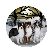 AUSTRALIAN SHEPHERD DOGS WINTER Ornament (Round)