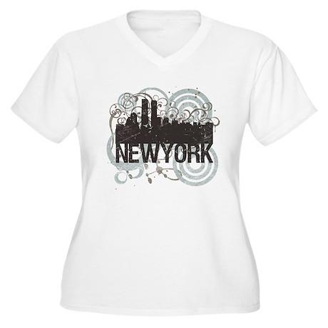 New York Women's Plus Size V-Neck T-Shirt