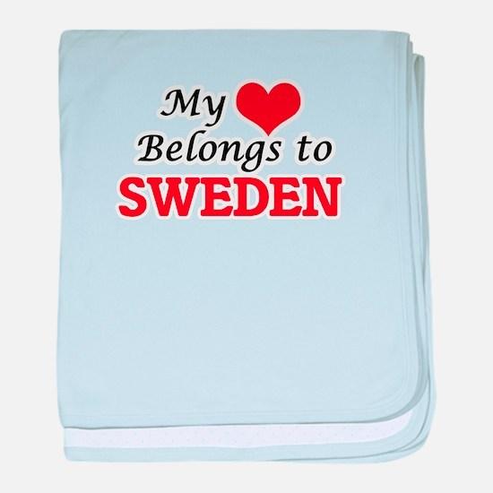My Heart Belongs to Sweden baby blanket