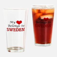 My Heart Belongs to Sweden Drinking Glass