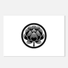 Lotus bloom in circle Postcards (Package of 8)