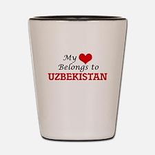 My Heart Belongs to Uzbekistan Shot Glass