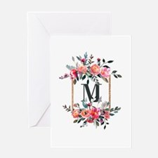 Feminine Floral Monogram Greeting Cards