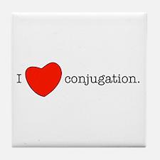 I love conjugation Tile Coaster