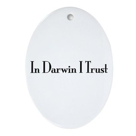 In Darwin I Trust Oval Ornament