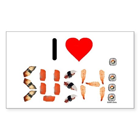 I Heart Sushi Rectangle Sticker