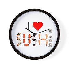 I Heart Sushi Wall Clock