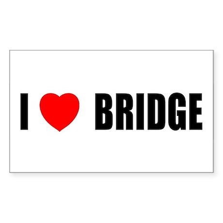 I Love Bridge Rectangle Sticker