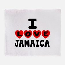 I Love Jamaica Throw Blanket