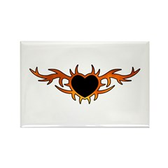 Flame Heart Tattoo Rectangle Magnet (10 pack)