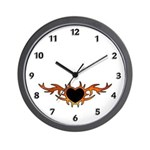 Flame Heart Tattoo Wall Clock