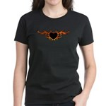 Flame Heart Tattoo Women's Dark T-Shirt