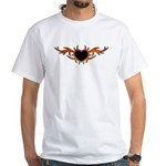 Flame Heart Tattoo White T-Shirt