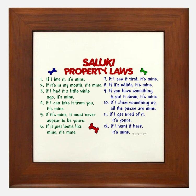 Saluki Property Laws 2 Framed Tile