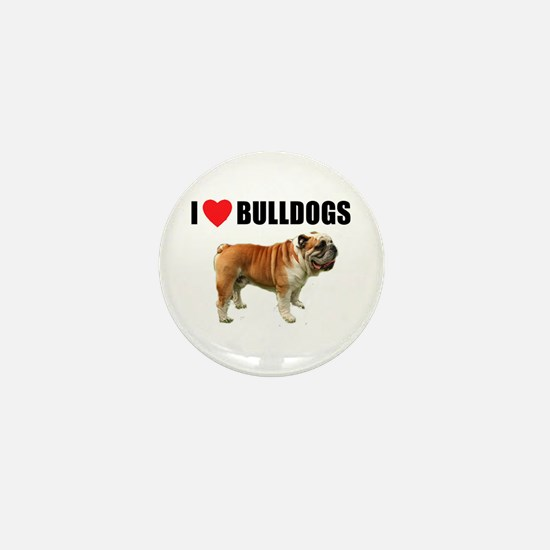 I Love Bulldogs Mini Button