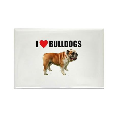 I Love Bulldogs Rectangle Magnet (10 pack)