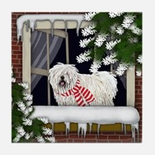 WHITE PULI DOG WINTER WINDOW Tile Coaster