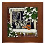 STANDARD SCHNAUZER DOGS WINTER WINDOW Framed Tile