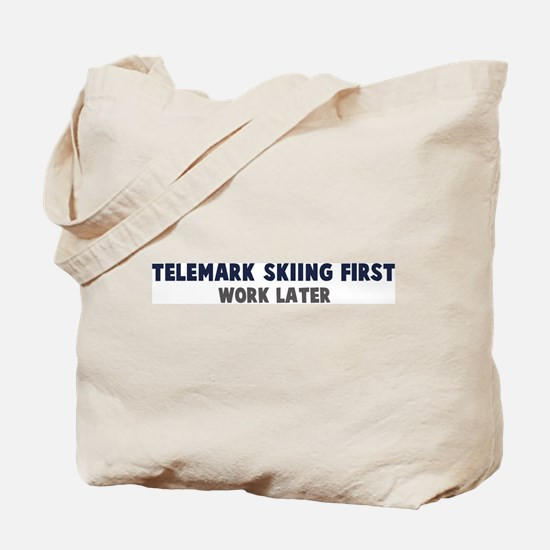 Telemark Skiing First Tote Bag
