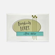 Everybody Loves a Cross stitcher Rectangle Magnet