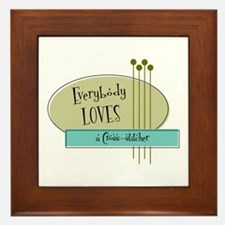 Everybody Loves a Cross stitcher Framed Tile