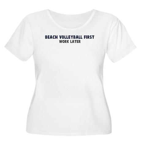 Beach Volleyball First Women's Plus Size Scoop Nec