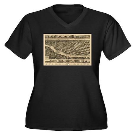 Columbus Women's Plus Size V-Neck Dark T-Shirt