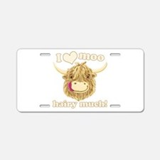 Wee Hamish Loves Moo! Aluminum License Plate
