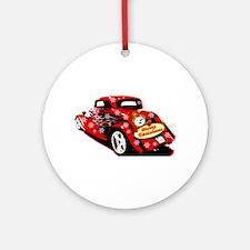 Christmas Hot Rod Round Ornament