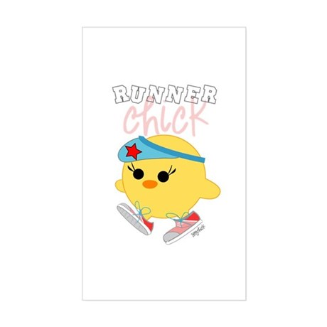 Runner Chick Rectangle Sticker
