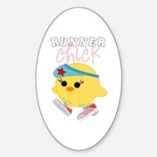 Runner Chick Oval Decal