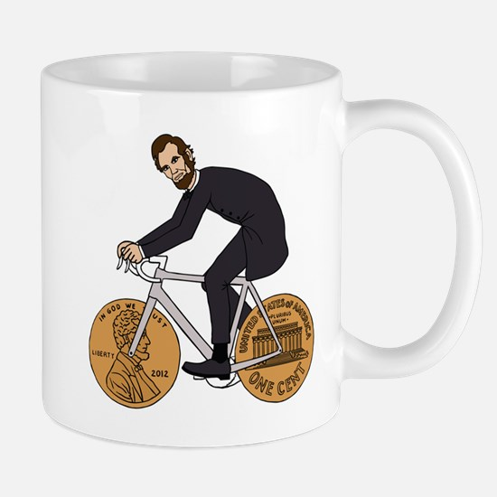 Abraham Lincoln On A Bike With Penny Wheels Mugs