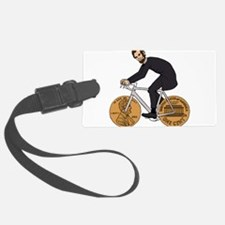 Abraham Lincoln On A Bike With P Luggage Tag