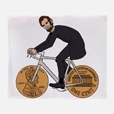 Abraham Lincoln On A Bike With Penny Throw Blanket